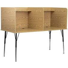 Double Wide Study Carrel with Adjustable Legs and Top Shelf in Oak Finish