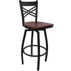 Advantage Cross Back Metal Swivel Bar Stool - Mahogany Wood Seat
