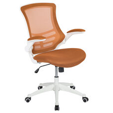 Mid-Back Tan Mesh Swivel Ergonomic Task Office Chair with White Frame and Flip-Up Arms