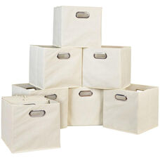 Niche Cubo Foldable Fabric Storage Bins with Handle - Set of 12 - Beige