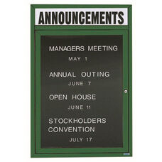 1 Door Outdoor Illuminated Enclosed Directory Board with Header and Green Anodized Aluminum Frame - 36