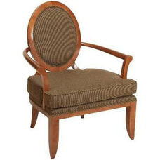 580 Fully Upholstered Lounge Chair w/ Loose Cushion & Wood Leg - Grade 1