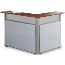 Steel Frame L-Shaped Reception Stand with Laminate Top - Gray Vinyl with Cherry Finish