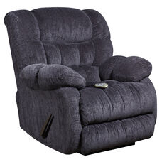 Massaging Columbia Indigo Blue Microfiber Rocker Recliner with Heat Control