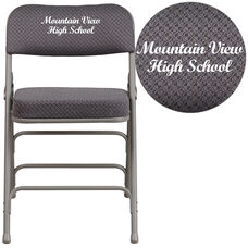 Embroidered HERCULES Series Premium Curved Triple Braced & Double Hinged Gray Fabric Metal Folding Chair