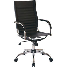 Ave Six Trinidad High Back Vinyl Office Chair with Chrome Base and Casters - Black