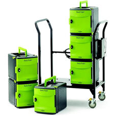 Rolling 32 Port Tech Tub2® Modular Cart with Built-In Cable Management on Back and Two Accessible Handles - 19