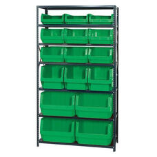 Magnum Shelving Unit with 16 Bins - Green