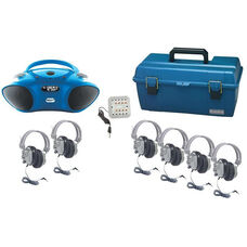 Gray and Blue Deluxe Headphone Listening Center with Bluetooth Enabled Boombox and Lockable Carrying Case - Set of 6 Headphones