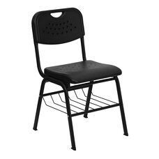 HERCULES Series 880 lb. Capacity Black Plastic Chair with Black Frame and Book Basket