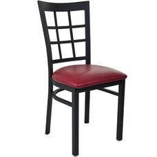 Advantage Black Metal Window Pane Back Chair - Burgundy Padded