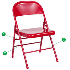 HERCULES Series Triple Braced & Double-Hinged Red Metal Folding Chair
