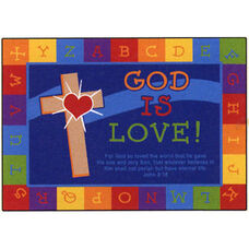 Alphabet Border God is Love Rectangular Nylon Rug - 46
