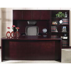 OSP Furniture Kenwood Hardwood Veneer Simple Executive Suite with Bookcase with Curved Metal Drawer Pulls