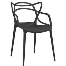 Masters Polypropylene Black Modern Stackable Arm Chair - Set of 4