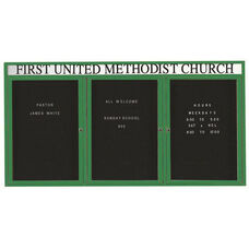 3 Door Outdoor Enclosed Directory Board with Header and Green Anodized Aluminum Frame - 48