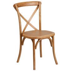 HERCULES Series Stackable Oak Wood Cross Back Chair