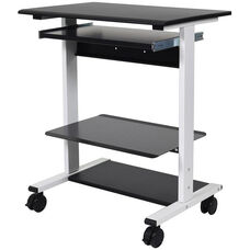 Adjustable Height Mobile Stand-Up Workstation with 3 Shelves and 1 Slide-Out Keyboard Shelf - 29.5