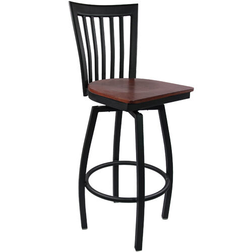 Advantage Vertical Slat Back Metal Swivel Bar Stool - Mahogany Wood Seat