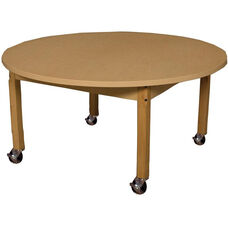 Mobile Round High Pressure Laminate Table with Hardwood Legs - 42