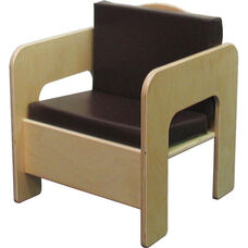 Wooden Kids Chair with 2 Reversible Brown Vinyl Cushions - 17
