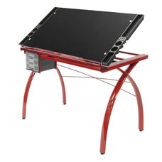 Futura Clear Tempered Glass and Steel Craft Station with Adjustable Angle Top - Red