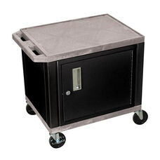 Gray Tuffy Plastic Cart with Cabinet and Black Legs