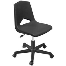 MG Series V-Back Height Adjustable Task Chair with 5 Star Base - Black Seat - 25