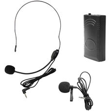Black Microphone PA Systems 208.5 Frequency Belt Pack with Lapel Mic and Head Worn Mic