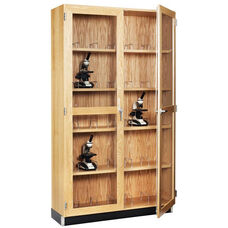 Science Lab 20 Microscope Wooden Storage Case with Locking Tempered Glass Doors - 36