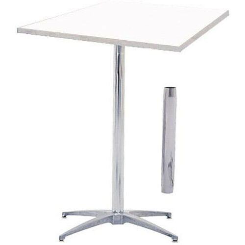 Our Standard Series Square Height Adjustable Pedestal Table with Aluminum Edge, Chrome Plated Steel Column, and Mayfoam Top - 24