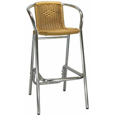 Honey Rattan Aluminum Patio Barstool