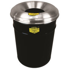 Cease-Fire® Safety Drum 55 Gallon Waste Receptacle with Aluminum Head - Black