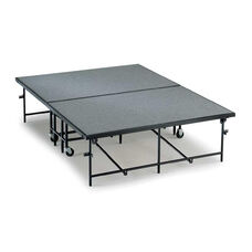 Mobile Carpeted Heavy Duty 16 Gauge Steel Deck Stage Section - 4'W x 8'L x 8''H