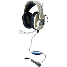 Beige and Black Deluxe Leatherette USB Headset with Gooseneck Microphone and 7.5 Foot Plastic Cord
