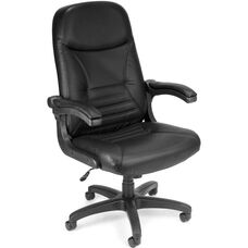 Mobile Arm Leather Executive Conference Mobile Chair - Black