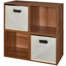 Niche Cubo Wooden Storage Case - Set of 4 Cubes and 2 Canvas Bins - Cherry