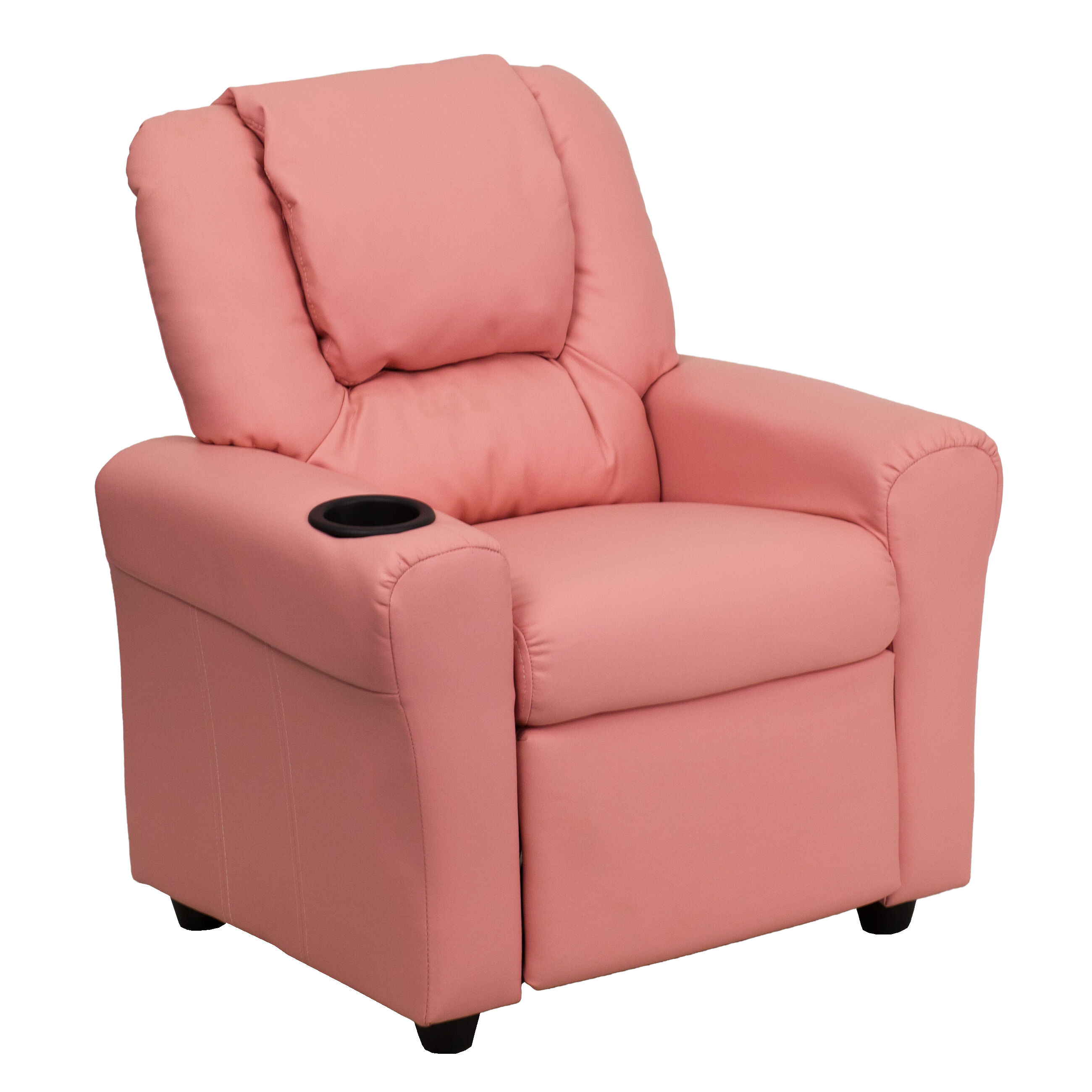 Our Contemporary Pink Vinyl Kids Recliner With Cup Holder And Headrest Is  On Sale Now.