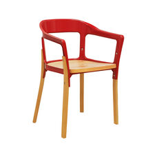 Jasper Indoor Steel Wood Chair with Coated Steel Frame - Natural and Red