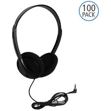 Black On-Ear Personal Economical Headphones with Foam Ear Cushions and Background Noise Reducing Capabilities - Set of 100 Headphones