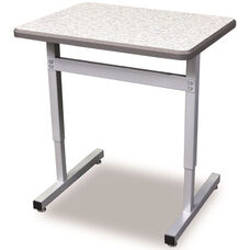 Une-T Plymouth Adjustable Height Desk with Beveled Lotz Armor Edge Top - 36