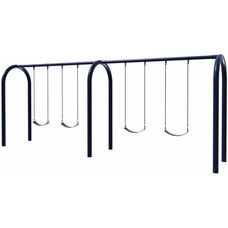 Four Seat Arch Post Swing Set with Molded Rubber Seats and Eleven Gauge Tubular Steel Frame - 96