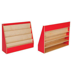 Strawberry Red Book Display Stand with Five Sloping Hardboard Shelves on Front and Four Shelves on Rear - Assembled - 34