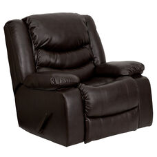 Plush Brown LeatherSoft Lever Rocker Recliner with Padded Arms