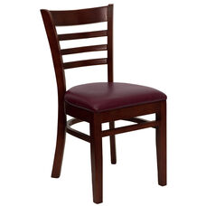 Mahogany Finished Ladder Back Wooden Restaurant Chair with Burgundy Vinyl Seat