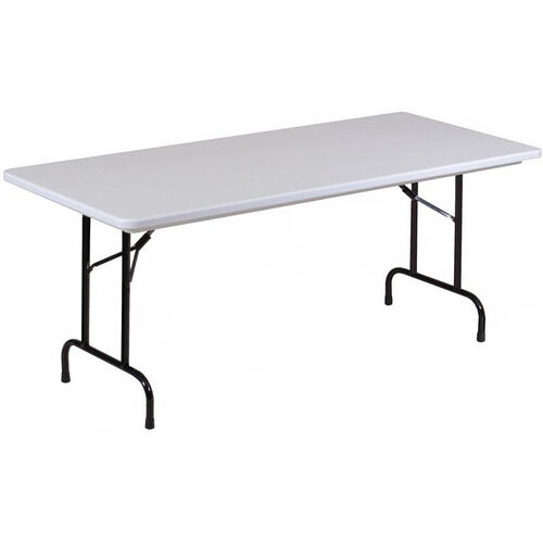 Standard Fixed Height Blow-Molded Plastic Top Rectangular Folding Table - 30