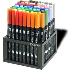 Multi-Colored Tombow Dual Brush Pens/Markers with Nylon Brush Tip and Hard Nylon Fine Tip - Set of 96