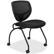 Basyx Black Frame Nesting Armless Chair with Castors - Set of 2
