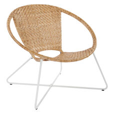 Inspired By Bassett Navarre Lounge Chair - Natural with White Frame