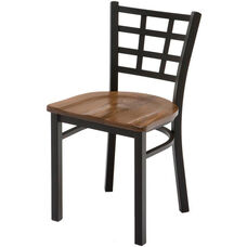 3300 Series Square Steel Frame Armless Cafe Chair with Contoured Grid Shaped Back and Wood Seat